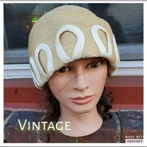 Vintage straw hat soutache trim